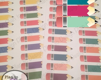Large Pencil Planner Stickers FULL SHEET (60) made for Erin Condren Happy Planner Kate Spade 2017-18