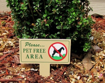 Two Pet Free AREA Signs  | No Dog Poop Stake |  No Poop No Pee Signs | No Dog Pooping Signs | No Poop or Pee Sign | No Pee No Poop Signs