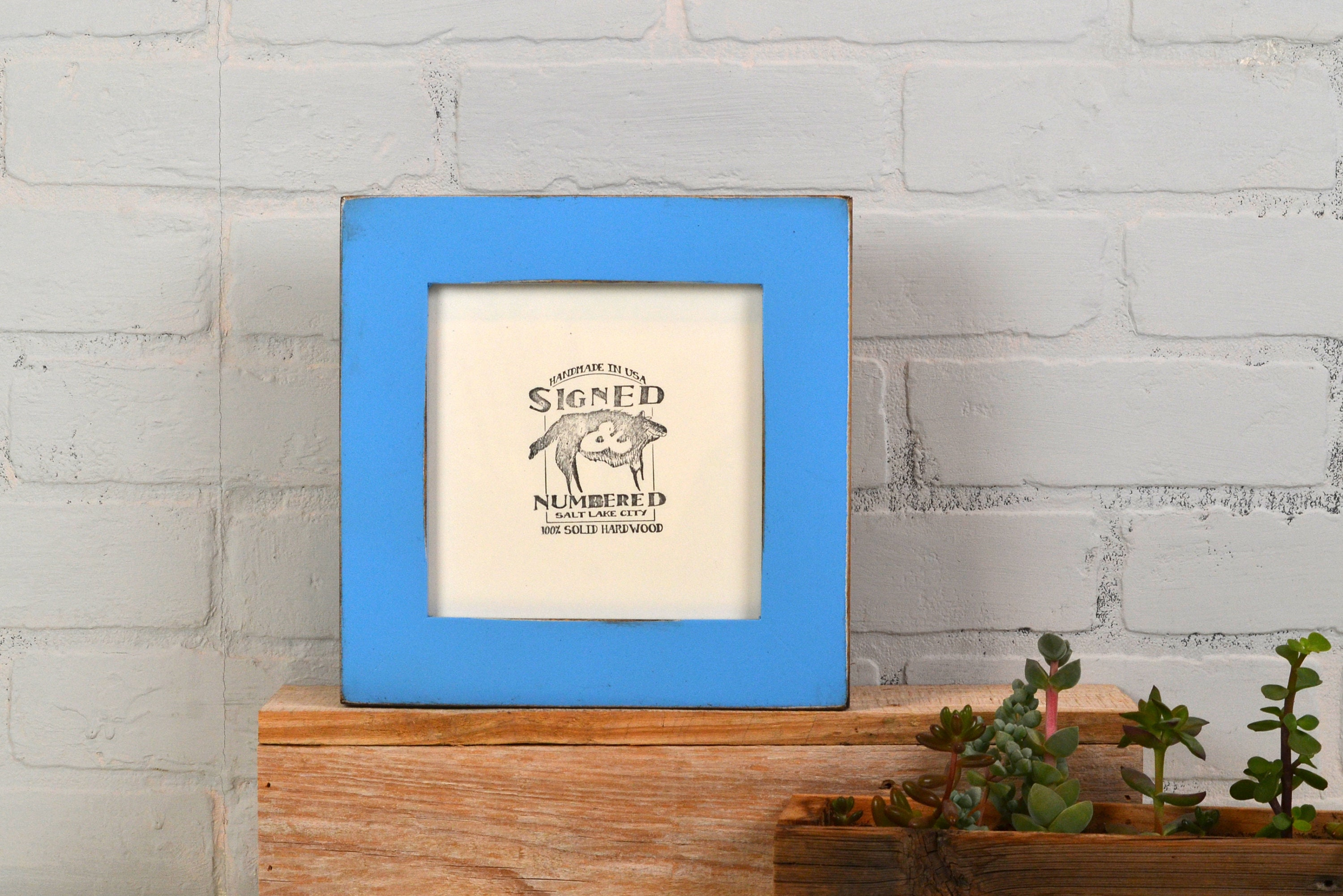 6x6 Square Frame in 1.5 inch standard style with Vintage Blue Finish ...