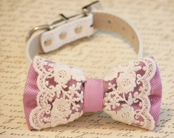 Lilac Lace Dog Bow Tie Collar, Pet wedding accessory