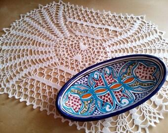 Crochet oval table doily