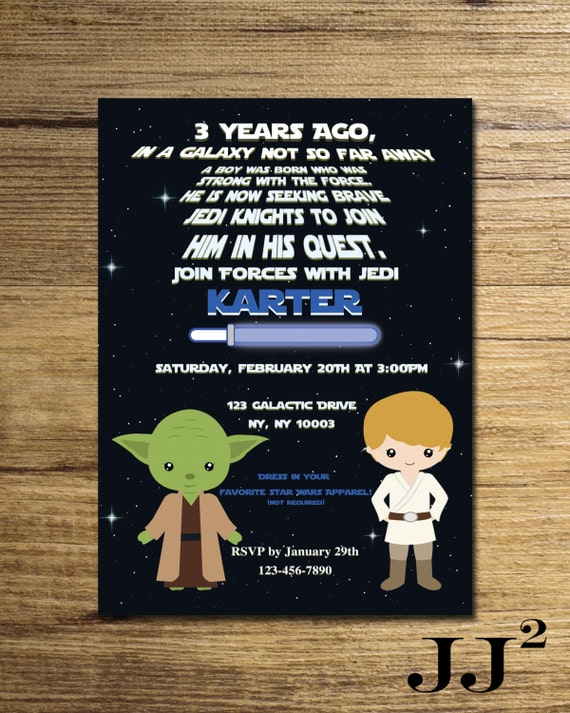 Star wars boy invitation/star wars party invitation/yoda