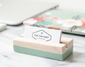 Desk card holder etsy wood business card holder eucalyptus hand painted horizontal or vertical business card holder reheart Gallery
