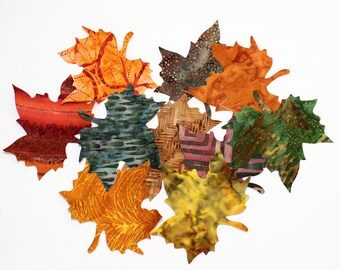 TEN Batik Maple Leaves, Applique Iron-On, Brown, Green, Gold, Rust and Purple Leaves, Fabric Iron Ons