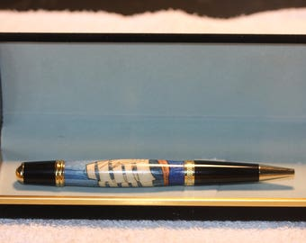Handcrafted Tall Ship Inlayed Pen in a Black Velour Case