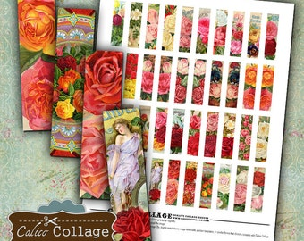 Floral Gems Digital Collage Sheet Matchstick Images .5x2 Inch Images for Pendants Earrings Rectangle Bezel Settings Magnets Calico Collage