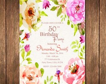 50th Birthday Invitation, 50th Birthday Invitation for Women, 50th Birthday Invites, Watercolor Flowers Invitation, Adult Birthday Invite