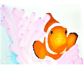 Clownfish Nemo Watercolor Art Print 8x10
