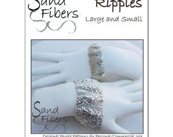 Peyote Pattern Collection - Ripples Large and Small Peyote Cuffs - A Sand Fibers For Personal/Commercial Use PDF Pattern Collection