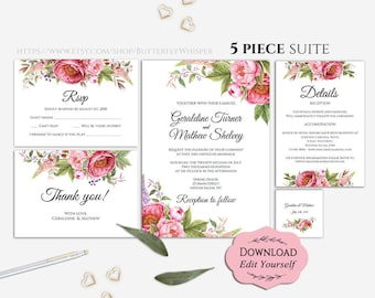 Editable Wedding Invitations Template, Spring Wedding Invitations Suite, Gorgeous Pink Spring Wedding Invitation Set, Digital Download