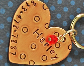 Custom Pet id tag / Harley Heart Copper Large Heart with Polka Dots