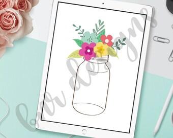 Mason Jar SVG Cut File, Flowers SVG, DXF, Cricut File, Silhouette File, Cameo File