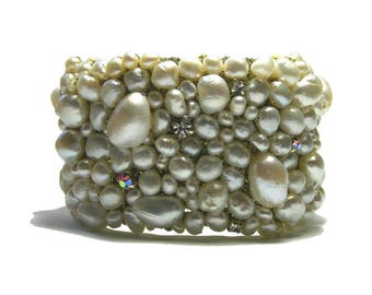 Freshwater Pearl and Rhinestone Cuff Bracelet, Bridal Cuff Bracelet, Bold Pearl Cuff Bracelet, Statement Bracelet, Unique handmade Bracelet