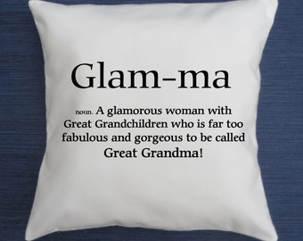 Great Glam Ma Definition Funny Throw Pillow Cover, Glamma Pillow Cover,  Grandma Pillow