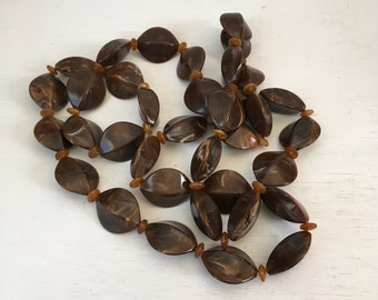 Chocolate cocoa swirl bold thermoset bead necklace