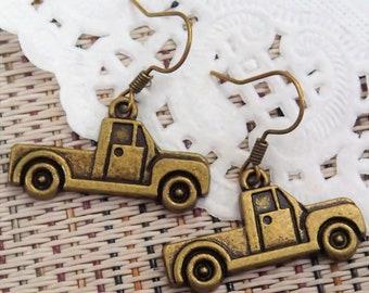 Elegant Antique Bronze Truck Earring