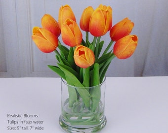 Orange, tulip/tulips, silk, glass vase, faux water, acrylic illusion, Real Touch flowers, floral arrangement, centerpiece, wedding, gift