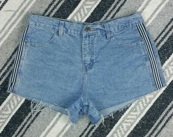 "Retro Side Stripe High Waisted Denim Cut off Shorts size M (waist 30"")"