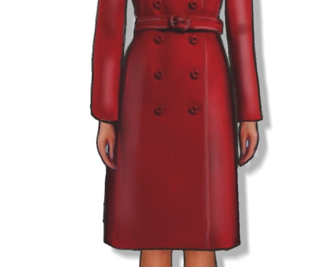 Women's red double breasted coat pattern, medium size (44), PDF file, A4 pages