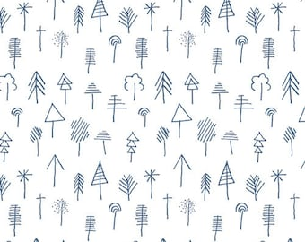 AGF Studios, Lagom, Stick Forest Outlined, White Fabric, Blue Fabric, Swedish Fabric, Scandinavian Fabric, Hygge Fabric, low volume