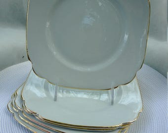 6 Gilt-Rimmed Salad or Dessert Plates-Clarence Bone China-Made in England