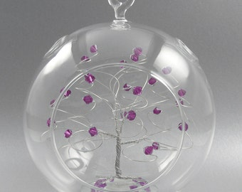 Glass Christmas Ornament Amethyst Swarovski Crystal Elements and Silver Crystal February Christmas Ornament