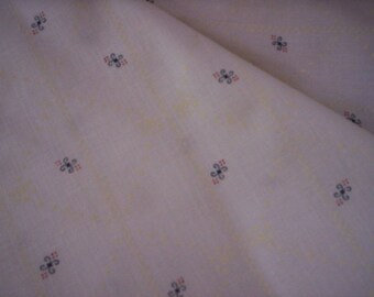 Sovereign textiles/Vintage off white fabric/Floral and dot fabric/Sovereign fabric/Blue,red and cream fabric/Sewing supply/Craft fabric