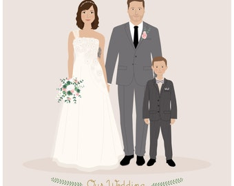 Custom Couple Portrait, custom wedding portrait, personalized anniversary and wedding gift