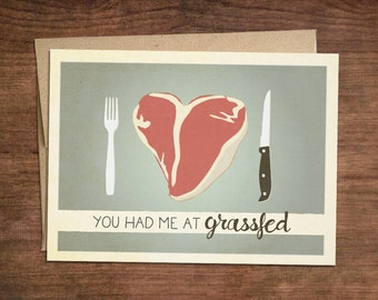 Paleo Valentines Card - Grassfed Engagement, Proposal, Valentine, Valentines Day, Girlfriend, Boyfriend, Husband, Crossfit