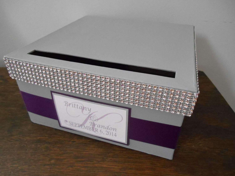 Gray Wedding Card Box Modern Glam Card Box Gift Card Holder