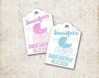 Custom Baby Shower Tags Personalized Shower Tags Vintage Style Pram Wish Tree Tag Party Favor Treat Bag Tag BPT02