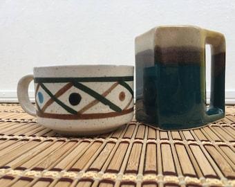 Mismatched Artisan Southwest Stoneware Mugs
