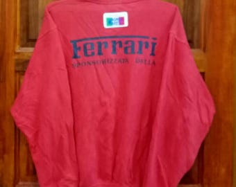 Rare!! FERRARI sweatshirt spell out nice design red colour large size