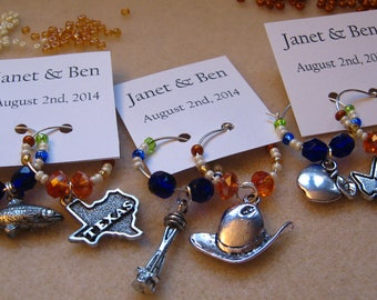 CUSTOMIZE - Wedding Set - Customize your Colors -  Wedding Wine Charms or Drink Tags