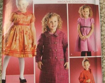 Simplicity 3978 Girls Dress, Heart Purse & Lined Coat pattern 3-8 Threads