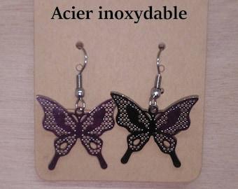 1 pair of stainless steel butterfly earrings