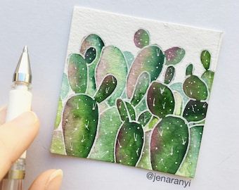 Succulent Painting, Watercolor Succulent, Watercolor Cactus Painting, Watercolor Cactus, Prickly Pear Cactus, Succulent Art, Cactus Art