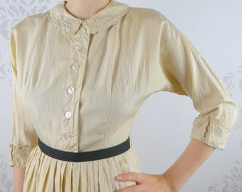 VINTAGE CREAM DRESS 1950s Jerry Gilden New York Size Extra Small