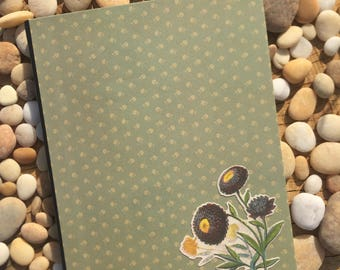 Sage Green Floral Altered Composition Notebook