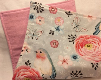 Baby Burp Cloth Bird Natural Handmade for Baby Australian Made Cotton