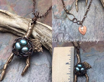 Wire Wrapped Bird Nest with Freshwater Pearls, on Bronze Leaf Branch, Ready to Ship, Free USA Shipping, Inspirational