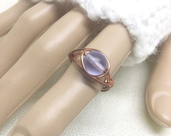 Copper ring, size 5.5, pale lavender