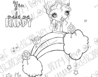 INSTANT DOWNLOAD Big Eye Girl Rainbow and Fuzzy Nymphs Digital Stamp - Nelly & Her Nymphs Image No.369 by Lizzy Love