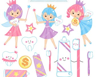 Tooth Fairy Clipart - Commercial Use OK - Tooth Fairy Graphics, Teeth Clipart, Cute Toothpaste Toothbrush Clipart