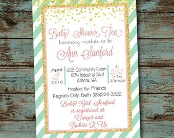 Elegant Baby Shower Tea Invitation, Pink Tea Gold, Baby Girl Shower, DIY, Printable Digital Invitation