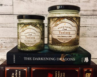 Fantasy | Mystical & Magical Inspired Candle | Citrus, Blueberry, and Musk