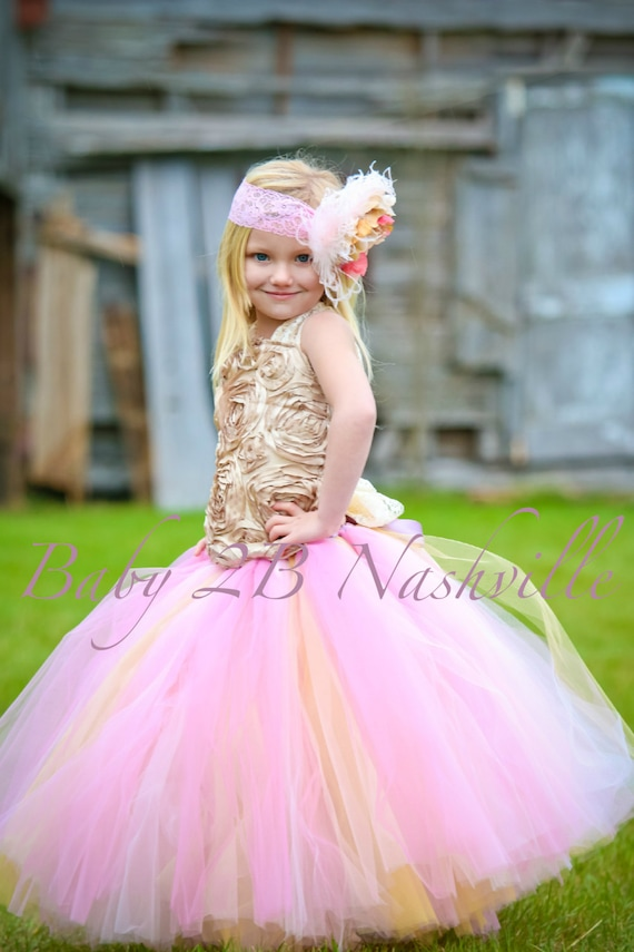 Boda vestido flor chica vestido vestido rosa oro vestido tul