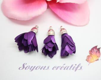 10 pom poms silver charms - 30mm - Polyester - purple