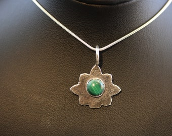 Textured Sterling Silver Pendant with Malachite Stone (060818-009)