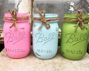 Spring distressed mason jars, rustic mason jars, painted mason jars, jar, glass jars, Easter mason jars, holiday